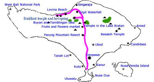 lake bratan bali map Bratan Lake And North Bali Tours Route Map P0isx lake bratan bali map
