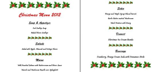 Christmas 2012 Menu