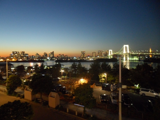 The setting sun. View from Decks Tokyo Beach in Odaiba.