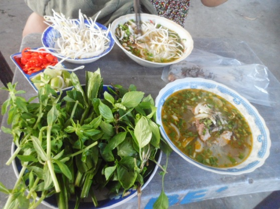 phở tái (pho topped with sliced rare beef) in Mui Ne, Vietnam at a random roadside stall.